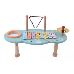 Drewniany stolik muzyczny z instrumentami