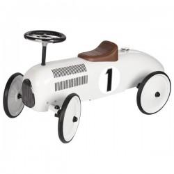 Jeździk biała wyścigówka retro