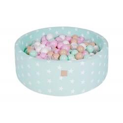 Suchy basen dla dziecka 90x30 cm + 200 piłek - miętowy w gwiazdki