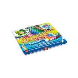 Kredki Supersticks Aqua 24 kolory w metalowym pudełku