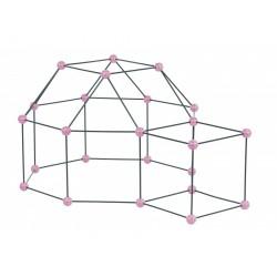 Zwariowany namiot, zestaw konstrukcyjny do budowy bazy - różowo-szary