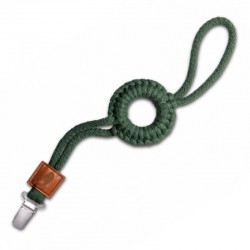 Hi Little One - sznurkowa zawieszka z kółkiem do smoczka Pacifier holder with RING Green Hunter
