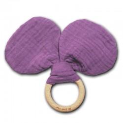 Hi Little One - gryzak z grzechotką szeleszczącą z organicznej BIO bawełny GOTS Mouse teether with rustling rattler Lavender