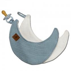 Hi Little One - Przytulanka dou dou z zawieszką z organicznej BIO bawełny GOTS cozy muslin pacifier keeper Moon Baby Blue
