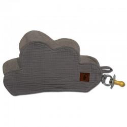 Hi Little One - Przytulanka dou dou z zawieszką z organicznej BIO bawełny GOTS cozy muslin pacifier keeper Cloud Grey