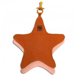Hi Little One - Przytulanka muślinowa dou dou z zawieszką na smoczek cozy muslin pacifier clip Star Pumpkin