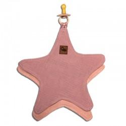 Hi Little One - Przytulanka dou dou z zawieszką z organicznej BIO bawełny GOTS cozy muslin pacifier keeper Star Blush