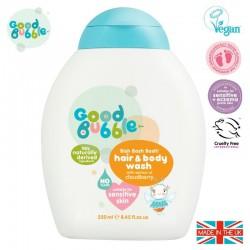 Good Bubble Organiczny żel wegański do mycia włosów i ciała Noworodka i Niemowlaka Cloudberry 250 ml
