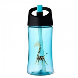 Carl Oscar Transparentny bidon ze słomką 350 ml Turquoise - Giraffe