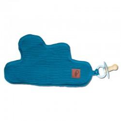 Hi Little One - Przytulanka dou dou z zawieszką z organicznej BIO bawełny GOTS cozy muslin pacifier keeper Cloud Emerald