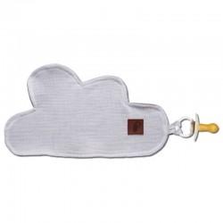 Hi Little One - Przytulanka dou dou z zawieszką z organicznej BIO bawełny GOTS cozy muslin pacifier keeper Cloud White