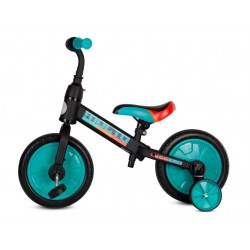 Rowerek biegowy Molto Leggero z opcją + pedały + kółka boczne turkusowy