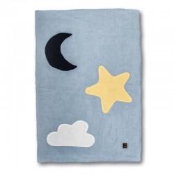 Hi Little One - Kołderka do łóżeczka z oddychającej BIO bawełny organicznej GOTS Day & Night Baby Blue