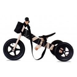 Rowerek biegowy drewniany 2w1 z podnóżkiem i paskiem Twist Samoa black on Black Edition