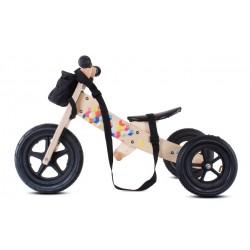 Rowerek biegowy drewniany 2w1 z podnóżkiem i paskiem Twist Cubic Black Edition