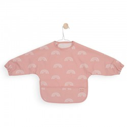 Jollein - Śliniak fartuszkowy wodoodporny z kieszonką Tęcza Rainbow Blush Pink