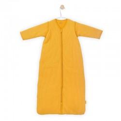 Jollein - Śpiworek niemowlęcy całoroczny 4 pory roku z odpinanymi rękawami Rib OCHER 110 cm