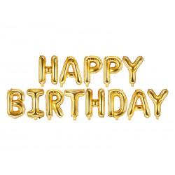 Balon foliowy Happy Birthday, 340x35cm, złoty (1 karton / 50 szt.)