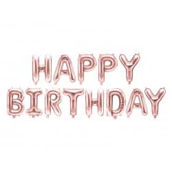 Balon foliowy Happy Birthday, 340x35cm, różowe złoto (1 karton / 50 szt.)