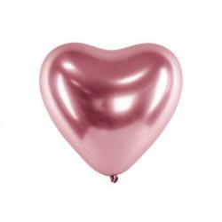 Balony Glossy 30cm, Serca, różowe złoto (1 op. / 50 szt.)