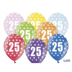 Balony 30cm, 25th Birthday, Metallic Mix (1 op. / 50 szt.)