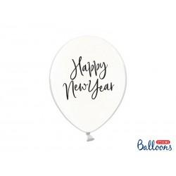 Balony 30 cm, Happy New Year, Crystal Clear (1 op. / 6 szt.)