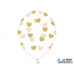 Balony 30cm, Serduszka, Crystal Clear (1 op. / 50 szt.)
