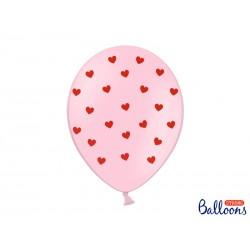 Balony 30 cm, Serca, Pastel Baby Pink (1 op. / 50 szt.)