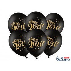 Balony 30cm, Happy 2021!, Pastel Black (1 op. / 50 szt.)