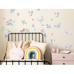 Naklejki na ścianę - Ptaszki - różowe