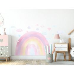 Naklejka na ścianę - Tęcza - różowa