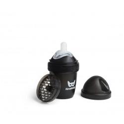 Herobility - butelka antykolkowa HeroBottle 140 ml, czarna + smoczek S (0 m+)