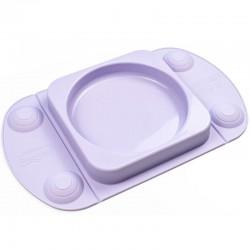 EasyTots - EasyMat Mini Max 2in1 silikonowy talerzyk z podkładką - lunchbox LILAC