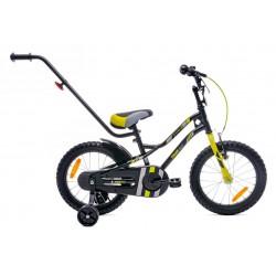 Rowerek dla chłopca 16 cali Tiger Bike z pchaczem czarno - żołto - szary