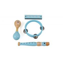 Zestaw muzyczny niebieski drewniany