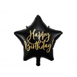 Balon foliowy Happy Birthday, 40cm, czarny