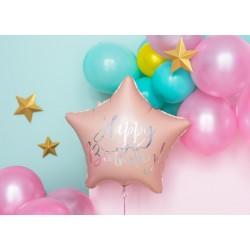 Balon foliowy Happy Birthday, 40cm, jasny pudrowy róż