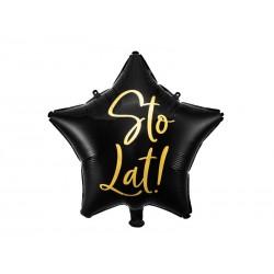 Balon foliowy Sto Lat!, 40cm, czarny