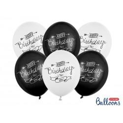 Balony 30cm, Happy Birthday, Pastel mix (1 op. / 6 szt.)