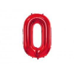 Balon foliowy Cyfra ''0'', 86cm, czerwony