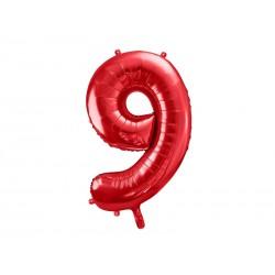 Balon foliowy Cyfra ''9'', 86cm, czerwony (1 karton / 50 szt.)
