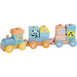 Kolejka drewniana lokomotywa + 2 wagony