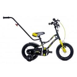 Rowerek dla chłopca 12 cali Tiger Bike z pchaczem czarno - żołto - szary