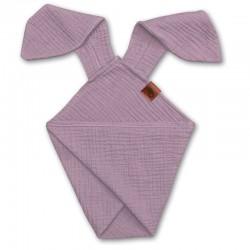Hi Little One - Pieluszka dou dou uszami królika z organicznej BIO bawełny GOTS cozy muslin with ears 2in1 Blush