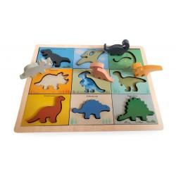 Drewniana układanka Dinozaury