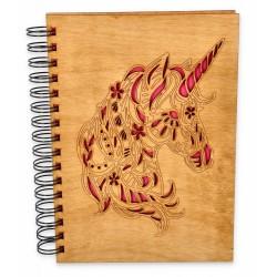 Szkicownik z drewnianą okładką - JEDNOROŻEC
