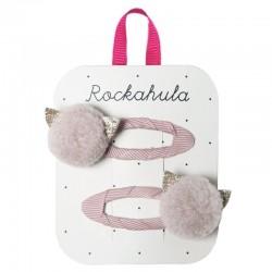 Rockahula Kids - 2 spinki do włosów Pom Pom Cat