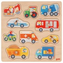 Drewniane puzzle z uchwytami pojazdy Goki