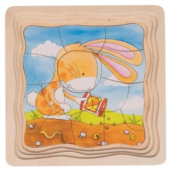 Puzzle warstwowe Królik i marchewki