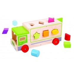 Drewniany sorter kolorów i kształtów Ciężarówka